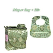 I Frogee Brocade Nappy Bag & Bib Set in Bean Green Fortune Flower Print