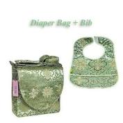 I Frogee Brocade Nappy Bag & Bib Set in Bean Green Fortune Flower Print