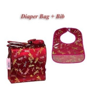 I Frogee Brocade Nappy Bag & Bib Set in Dark Red Dragonfly Print