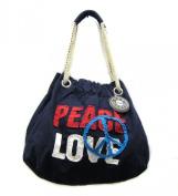 Peace Love Cotton Shoulder Bag Tote Handbag Navy