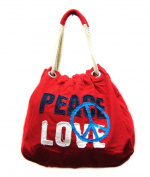 Peace Love Cotton Shoulder Bag Tote Handbag Red