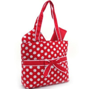 Quilted White Polka Dotted 3Pc Nappy Bag w/ Ribbon Accents Red