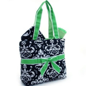 Quilted Damask Print 3Pc Nappy Bag w/ Ribbon Accents Green Trim