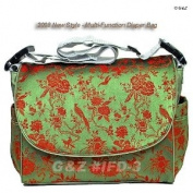 I Frogee Green Multi Function Brocade Nappy Bag / Backpack / Stroller Bag