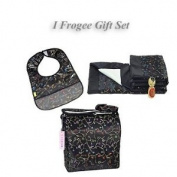 I Frogee Brocade Nappy Bag + Bib + Blanket Gift Set in Black Chilli Flower Print