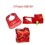 I Frogee Brocade Nappy Bag + Bib + Blanket Gift Set in Red Gold Cherry Blossom Print