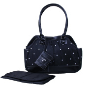 Baby Essentials Embroidered Large Satchel Nappy Bag with Brag Book - Black Dot