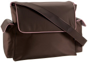 OiOi Chocolate/Pink Messenger Nappy Bag