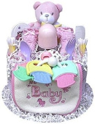 1 Tier Girl's Nappy Cake