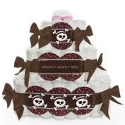 Baby Nappy Cake - Skullicious - Girl Skull - 3 Tier