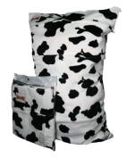 BubuBibi Wet/Dry Bag Cloth Nappy/Swim MINKY BLACK COW