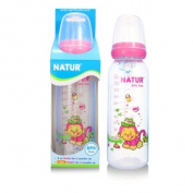 NATUR Pink Baby Feeding Bottle with size L nipple BPA Free 8 oz / 240 ml