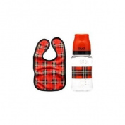 BUD Tartan Plaid Baby Bib Bottle