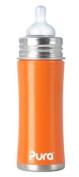 Pura Kiki Stainless Steel Infant Bottle, Orange, 330ml