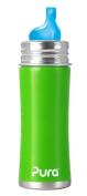 Pura Kiki Stainless Sippy Bottle Stainless Steel with XL Sipper Spout, 330ml, Spring Green, 6 Months+