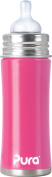 Pura Kiki Stainless Infant Bottle Stainless Steel with Natural Vent Nipple, 330ml, Pretty Pink, 3 Months+