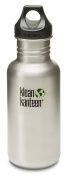 Klean Kanteen 530ml Stainless Steel Water Bottle (Loop Cap in Black) - Brushed Stainless