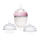Comotomo Natural Feel Set - Single Pack Pink 150ml Baby Bottle, PLUS Extra Pack Slow Flow Nipples