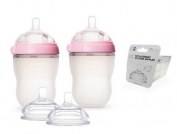 Comotomo Natural Feel Baby Bottle SET, Double Pack Pink, 250ml (8 oz) PLUS Extra Nipples Packs - MEDIUM Flow & Variable Flow