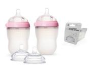 Comotomo Natural Feel Baby Bottle SET, Double Pack Pink, 250ml (8 oz) PLUS Extra Nipples Packs - MEDIUM Flow & Variable Flow