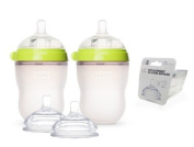 Comotomo Natural Feel Baby Bottle SET, Double Pack Green, 250ml (8 oz) PLUS Extra Nipples Packs - MEDIUM Flow & Variable Flow