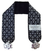 LatchOn Black And White Damask Minky Nursing Blanket Straps