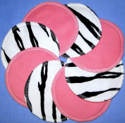 NuAngel Designer Washable Nursing Pads - Pink & Zebra 100% Cotton Made In U.S.A.