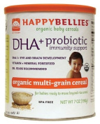 HAPPYBELLIES Organic Baby Cereals, DHA + Probiotic, Organic Multigrain Cereal, 210ml Canisters (Pack of 6)