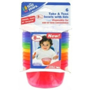 The First Years 6 Pack Take & Toss Bowls with Lids, 240ml, Colours May Vary