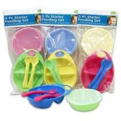 5pc Baby Feeding Dish, Bowl & lid, fork, Spoon Feeding Set