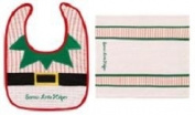"""Santa's Little Helper"" Bib and Burb Cloth Set"