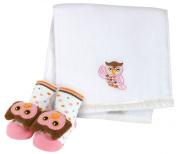 Stephan Baby Owl Burp Pad/Rattle Sock Set - Pink