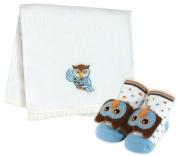 Stephan Baby Owl Burp Pad/Rattle Sock Set - Blue