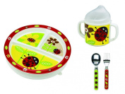 Sugarbooger Divided Plate, Sippy Cup, and Silverware Set-Ladybug
