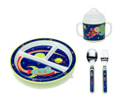 Sugarbooger Divided Plate, Sippy Cup, and Silverware Set-Outerspace