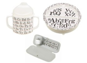 Sugarbooger Divided Plate, Sippy Cup, and Silverware Set-Vintage Alphabet