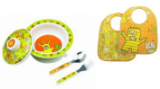 Sugarbooger Covered Bowl, Silverware, and 2 Bibs Set-Hungry Monsters