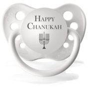 "1 White Orthodontic Expression Pacifiers ""Happy Chanukah"""