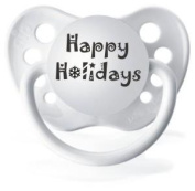 "Expressions White ""Happy Holidays"" Christmas Holiday Pacifier"