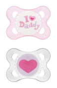 I Love (Heart) Daddy & Mummy Pack of 2 Baby Girl Newborn Dummies / Soothers Pink