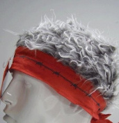 Red Barbed Wire Bandana With Grey Hair