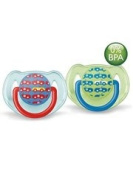 Avent 2 Orthodontal Silicone Decorated Soothers 6-18M - Version : Boy Cars