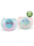 Avent 2 Orthodontal Silicone Decorated Soothers 6-18M - Version : Girl Birds