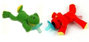 Wubbanub Infant Pacifier ~ Red Dog & Green Frog