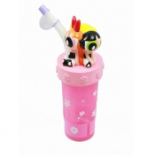 The Powerpuff Girls Blossom Bubbles & Buttercup 3D Figurine Tumbler Cup With Straw