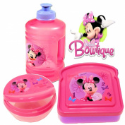 Disney Minnie Mouse Bow-tique Lunch Set (Water Bottle, Snack Box & Sandwich Box)