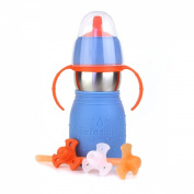 The Safe Sippy 2 2-in-1 Sippy to Straw Bottle, Blue - 6 Months
