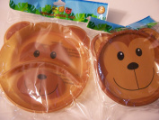 Animal Friends Monkey 2 Piece Plastic Dining Set ~ Divided Plates, Travel Bowl with Lid