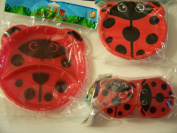 Animal Friends Ladybug 3 Piece Plastic Dining Set ~ Divided Plates, Snack Containers with Spoons, Travel Bowl with Lid