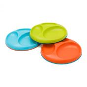 Boon Saucer Edgelesss Stayput Divider Plate, Blue/Orange/Green